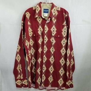 Wrangler Shirt Aztec Print XL Pearl Snap Western